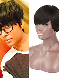 Short Straight Wigs Full None Lace Glueless Brazilian Virgin Hair Wigs Capless 100% Human Hair Wigs