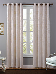One Panel European Floral / Botanical Beige Bedroom Polyester Blackout Curtains Drapes