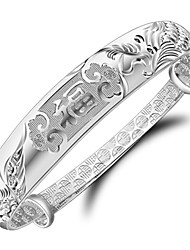 Women's Bracelet Sterling Silver Plated Sample Chinese Characters means Happiness Bangle Bracelet Wedding Bride