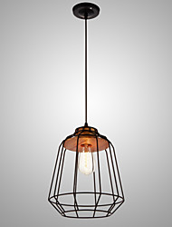 SL® Iron Painting Pendant Light with Wooden Center Iron Cage Lighting Lamp