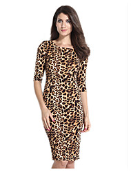 Women's Party/Cocktail Sexy Bodycon Dress,Leopard Round Neck Knee-length ½ Length Sleeve Brown Polyester Spring