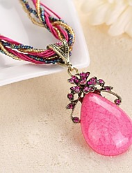 KAILA Women's New Fashion Vintage / Cute / Party /  Casual Rhinestone Gemstone Pendant Necklace