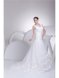 Trumpet/Mermaid Wedding Dress-Court Train V-neck Organza / Satin