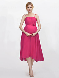 Tea-length Spaghetti Straps Bridesmaid Dress - Open Back Sleeveless Chiffon