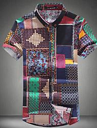Men's Patchwork Casual Shirt,Cotton Short Sleeve Multi-color