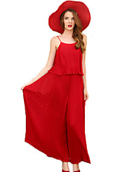 Women's Holiday Sexy / Street chic Summer Set,Solid U Neck Sleeveless Red Acrylic / Polyester Thin