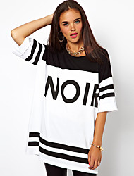 Women's Casual/Daily Street chic / Active Shift Dress,Print Round Neck Mini ½ Length Sleeve White Polyester / Spandex Summer