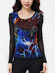 Women's Patchwork Black Blouse,Plus Size/ Casual Print Drilling hot Pleated Mesh Fashion Slim Nylon