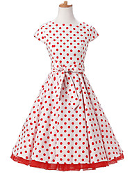 50s Era Vintage Style Cap Sleeves Rockabilly Dress Cosplay Costume White Red Polka Dot (with Petticoat)
