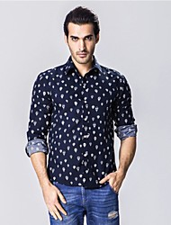 Men's Hot Air Balloon Printing Long Sleeve Shirt, Cotton / Polyester Casual Print