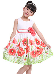 Girl's  Flower Print Beautiful Party Pageant Casual Holiday Kids Clothing Dresses