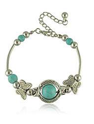 Bohemia Turquoise Bracelets Antique Silver Butterfly String Bracelet