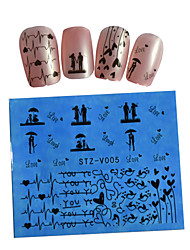 10pcs Black New Nails Art  Water Transfer Sticker  Manicure Nail Art Tips  STZV001-010