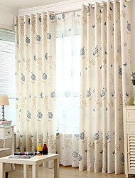Two Panels Modern Living Room Polyester Blackout Curtains Drapes