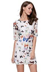 Women's Vintage / Street chic Print Plus Size Lace Slim Sheath Three Quarter Sleeve Dress,Round Neck Above Knee
