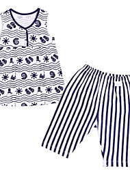 Girl's Blue / Red Clothing Set,Stripes / Cartoon Cotton Summer
