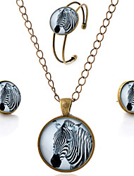 Lureme® Time Gem Series Simple Vintage Style Zebra Pendant Necklace Stud Earrings Bangle Jewelry Sets