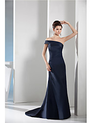 Formal Evening Dress Sheath / Column Bateau Court Train Taffeta with Side Draping