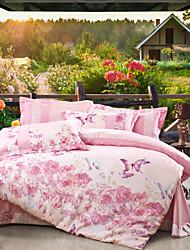 Floral Poly/Cotton 4 Piece Duvet Cover Sets