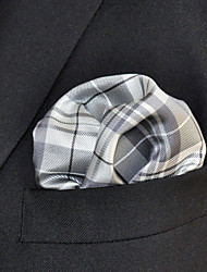 Men's Pocket Square  Checked  100% Silk Wedding Business