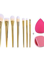 7 pcs Pro Makeup Brushes Bold Metals, Glove Washing Cleaning Brush Scrubber, Makeup Sponge Puff - A MONEY SAVING SET