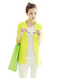 Women's Solid Blue / Pink / White / Yellow Blazer,Street chic Shirt Collar ¾ Sleeve