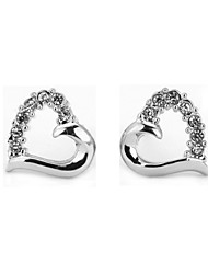 HKTC Sweety Crystal Hollow Heart Stud Earrings 18k White Gold Plated Cz Diamond Vintage Jewelry