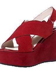 Women's Shoes Cowhide / Suede Wedge Heel Wedges / Peep Toe / Platform Sandals Office & Career / Party & Evening / Dress