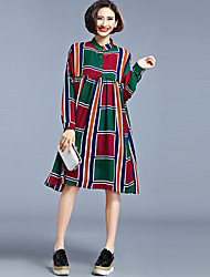 Women's Vintage Patchwork Loose Dress,Stand Midi Polyester