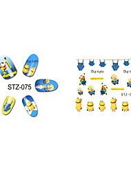 1pcs  New  Cartoon  Lovely  Small  Yellow Doll Minions  Water Transfer Nail Art Stickers STZ075-085