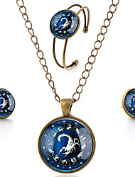 Lureme® Time Gem The Zodiac Series Simple Vintage Style Scorpio Pendant Necklace Stud Earrings Bangle Jewelry Sets