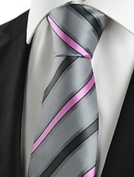KissTies Men's Striped Pink Grey Microfiber Tie Necktie For Wedding Party Holiday With Gift Box