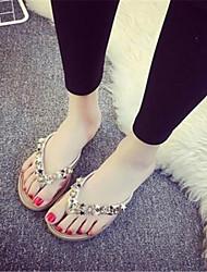 Women's Shoes Fabric Flat Heel Flip Flops Flip-Flops Casual Black / Silver / Gold
