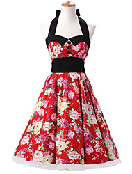 50s Era Vintage Style Halter Neck Buttons Rockabilly Dress Cosplay Costume Red Floral (with Petticoat)