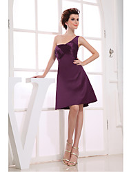 Cocktail Party Dress A-line One Shoulder Knee-length Satin with Side Draping
