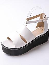 Zapatos de mujer-Plataforma-Plataforma / Tira en T / Creepers-Sandalias-Exterior / Vestido / Casual-Semicuero-Negro / Rojo / Blanco
