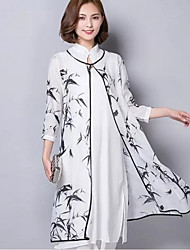 Women's Vintage Print Tunic Dress,Stand Asymmetrical Cotton / Linen