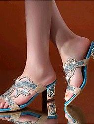 Women's Shoes Leatherette Chunky Heel Heels Sandals / Slippers Outdoor / Casual Blue / Gold