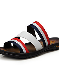 Men's Shoes Casual Leather / Fabric Sandals Blue / White