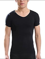Tee-Shirt Pour des hommes Couleur plaine Décontracté / Travail / Sport / Grandes Tailles Manches Courtes Coton / Spandex / Autres Noir