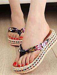 Women's Shoes Fabric Platform Flip Flops Slippers Outdoor / Casual Black / Blue / Beige