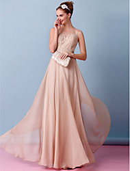 LAN TING BRIDE Sheath / Column Wedding Dress Wedding Dress in Color Floor-length Bateau Chiffon with Appliques