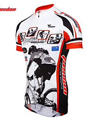 TASDAN Cycling Tops / Jerseys / Arm Warmers Men's Bike Breathable / Quick Dry / Sweat-wicking Short Sleeve Stretchy 100% Polyester WhiteS