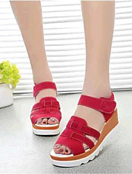 Women's Shoes Leatherette Wedge Heel Wedges / Heels Sandals Outdoor / Casual Black / Red / White / Gray