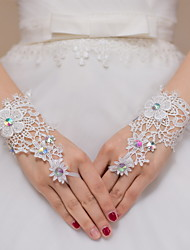 Wrist Length Fingerless Glove Lace Bridal Gloves / Party/ Evening Gloves Ivory lace / Rhinestone