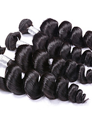 Hot Sale 400g/Lot 8-26inch Brazilian Virgin Hair Loose Wave Black Color Raw Human Hair Weaves Wholesales.