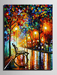 Mini Size E-HOME Oil painting Modern Under The Lights Of The Bench Pure Hand Draw Frameless Decorative Painting