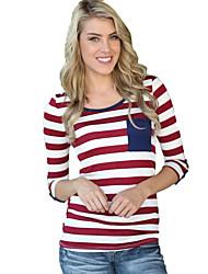 Damen Gestreift Einfach / Street Schick Ausgehen T-shirt,Rundhalsausschnitt ¾-Arm Rot Baumwolle Dünn