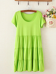 Hot Sale Breathable comfortable Round Neck Pleated Maternity Dress,Cotton / Modal Above Knee Short Sleeve