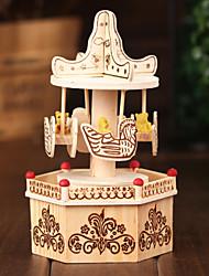 Merry-go-round por la música Elise color beige caja de madera